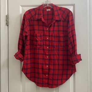 Hollis yet red and navy plaid very soft size med